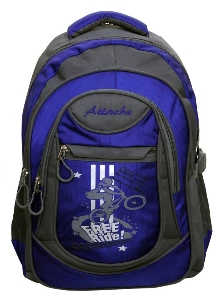 Attache Stylish School Bag (Royal Blue & Grey)