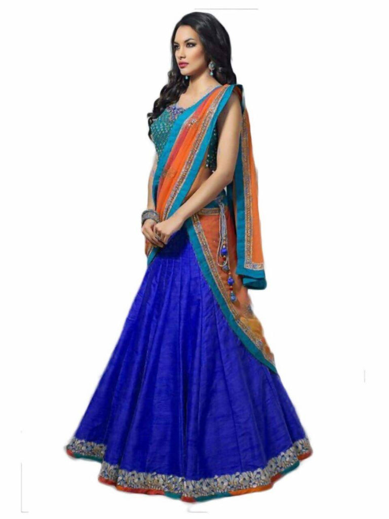 Madhav Design Embroidered Semi Stitched Lehenga, Choli and Dupatta Set  (Blue)