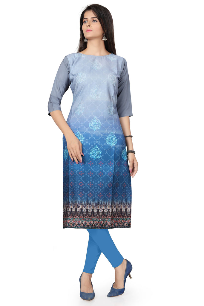 Harshita Creation Gray & Blue Color American Crepe Printed Casual Kurti For Women