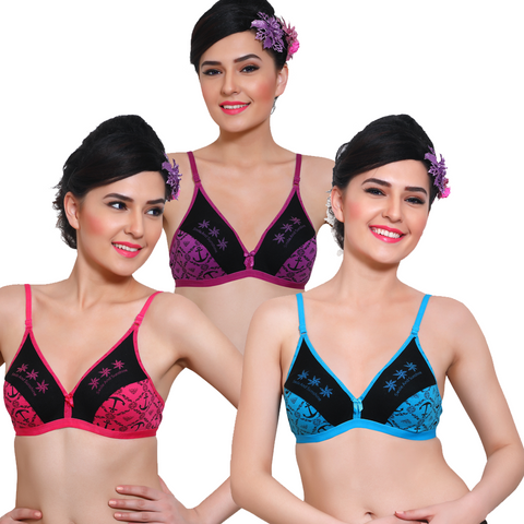 Innocence Non-Wired Non-Padded Printed Everyday Bras (Pack Of 3)