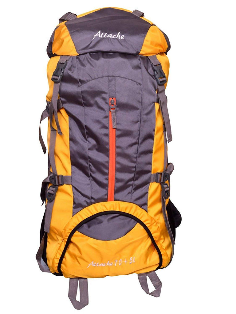 Attache 1021R Climate Proof Rucksack, Hiking Backpack 75Lts Yellow & Grey