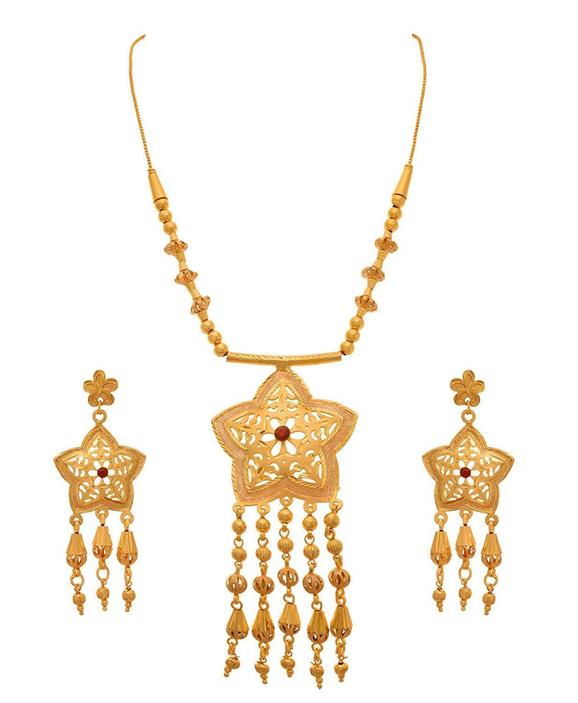 JFL- Traditional Ethnic One Gram Gold Plated Red Stone & Floral Designer Necklace Set with Gold Beaded Chain for Women.