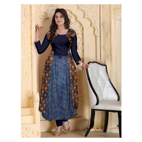 An Evening  Ankle Length Wear In Smoothest Of Reyon Exotic Prints-8056