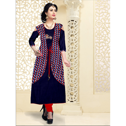 Indigo Off Shoulder With Long Attached Ankle Length Kurti -8084