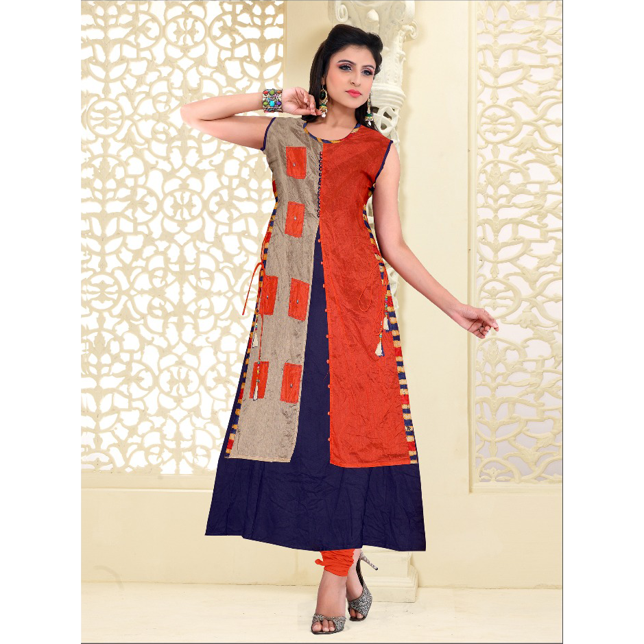 Handmade Long Silk Ankle length Kurtis With Rayon Attach Inner-8087