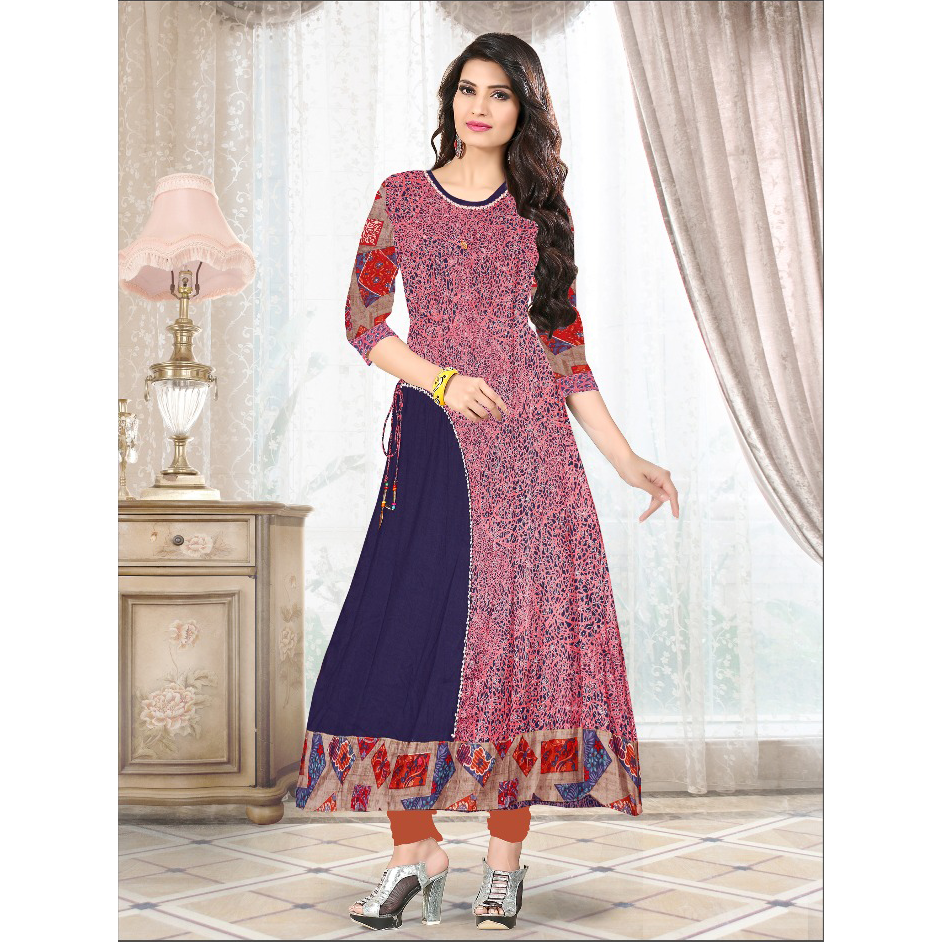 Traditional Kalamkari Print Ankle Length Kurtis-8089