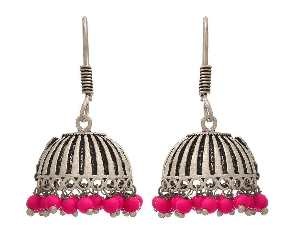 JFL - Traditional Ethnic Handmade German Silver Plated Oxidised Bead Designer Jhumki Earring For Women & Girls.