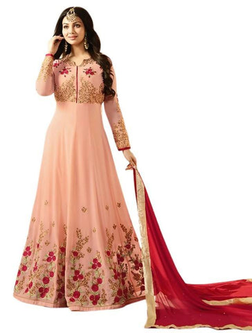 Reeva Trendz Women's Peach Heavy Semi-Sttiched Salwar Suit
