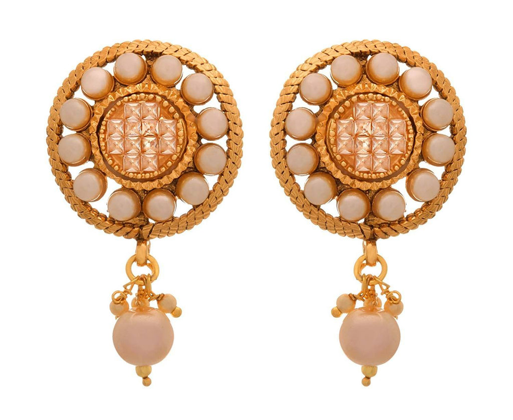 JFL -Traditional Ethnic One Gram Gold Plated Champagne LCD American Diamond & Pearl Designer Earring for Women & Girls.
