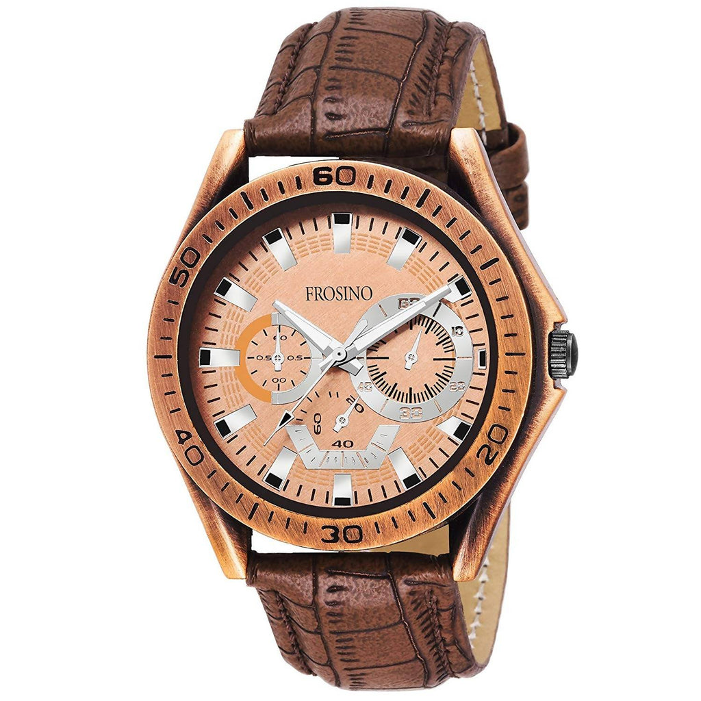 Frosino FRAC061802 Analog Frosting Bronze dial Watch for Men