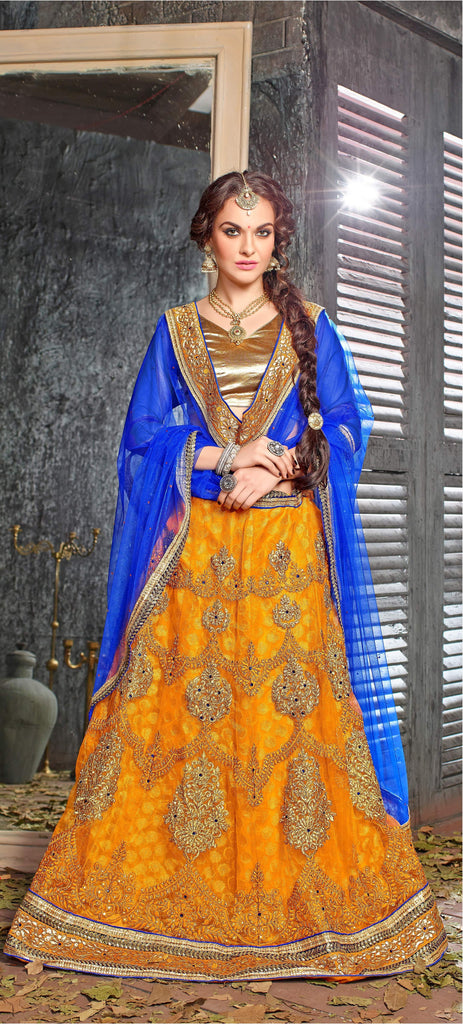 Aasvaa Remarkable Women's Embroidered Net Lehenga Choli With Un-Stitched Blouse (Dhupian Silk_Yellow_Free Size)