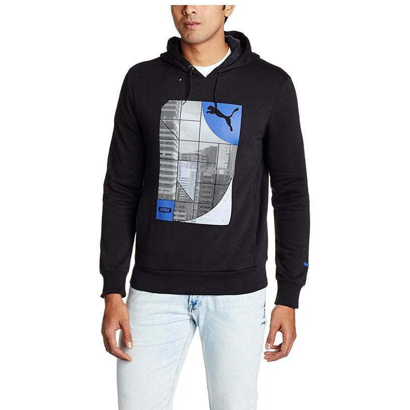 Puma Men's Hooded Cotton Sweatshirt (S_black-mazarine blue)