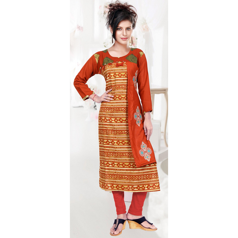 Yellow Rayon With Slide Flap And Hand Embroidery-9504