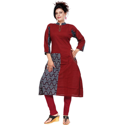 Maroon Satin Slub With Katha Work-9509