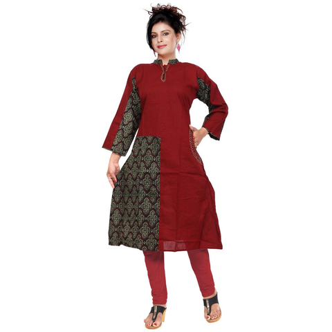 Red & Grey Satin Slub With Katha Work-9509