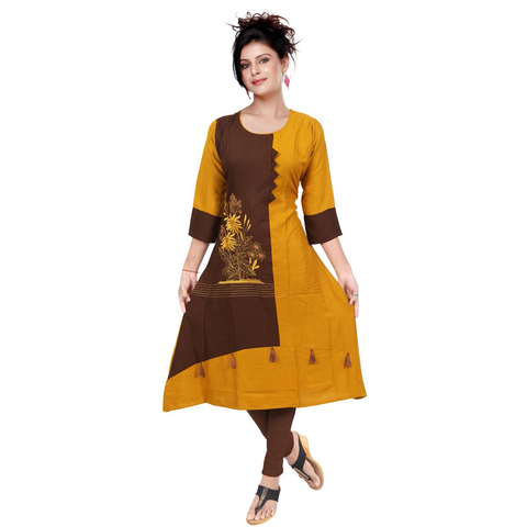 Brown & Yellow Unique Rayon Combinations With Hand Embroidery-9511