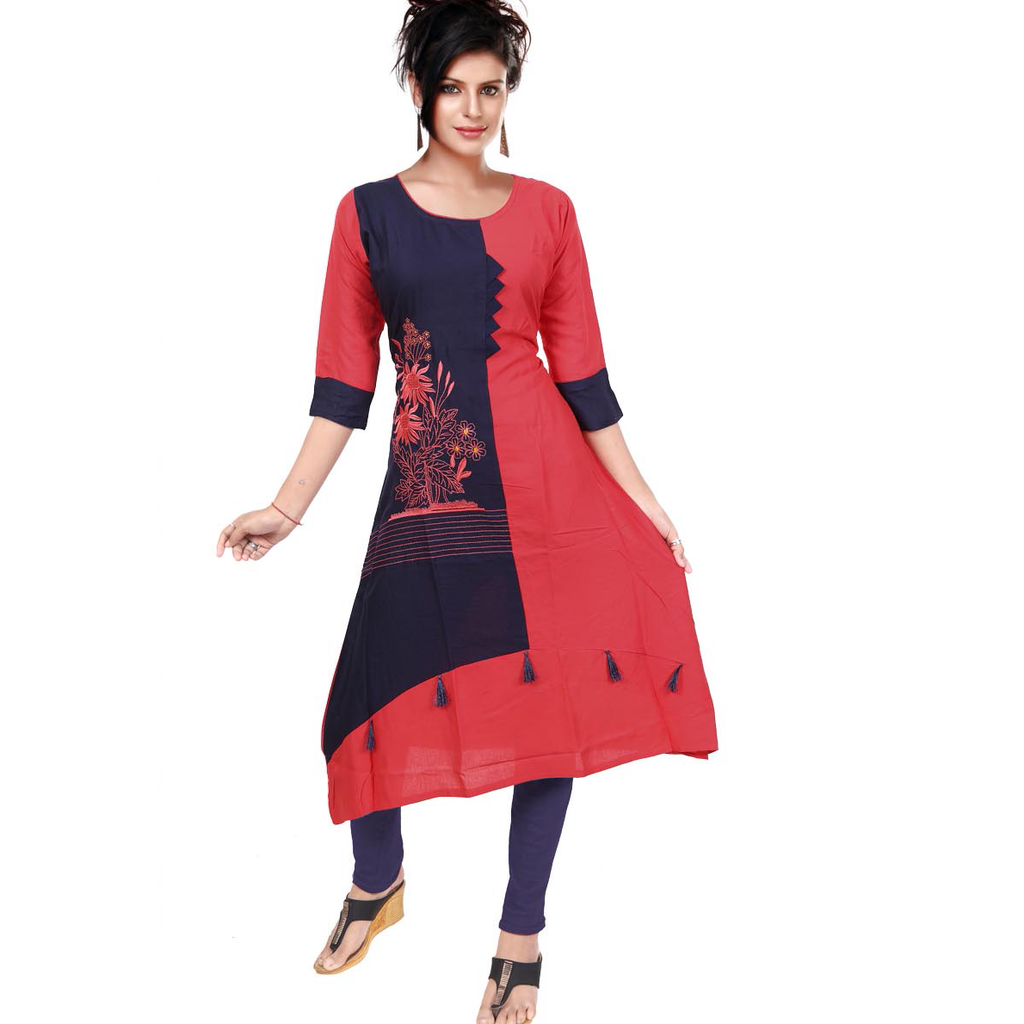 Navy Blue & Pink Unique Rayon Combinations With Hand Embroidery-9511