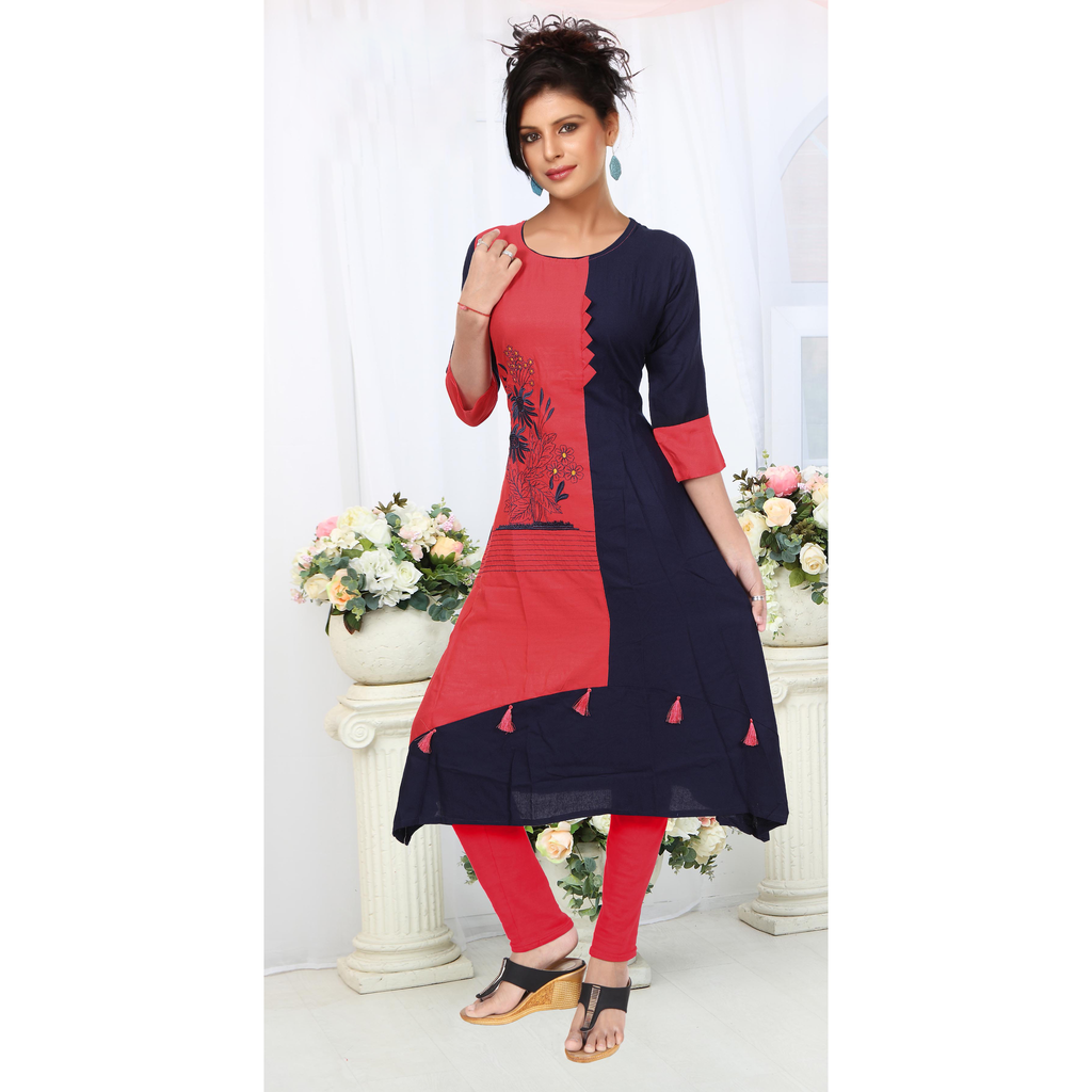 Pink & Navy Blue Unique Rayon Combinations With Hand Embroidery-9511