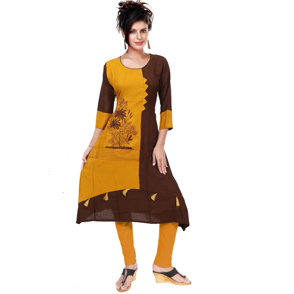Yellow & Brown Unique Rayon Combinations With Hand Embroidery-9511