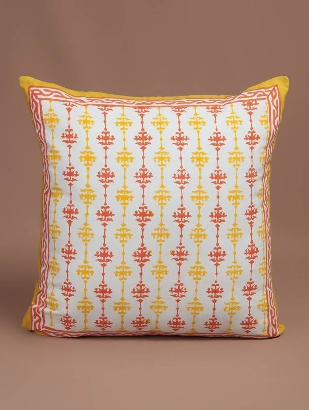 Myyra Geometric Cushions Cover (40 cm, Orange)