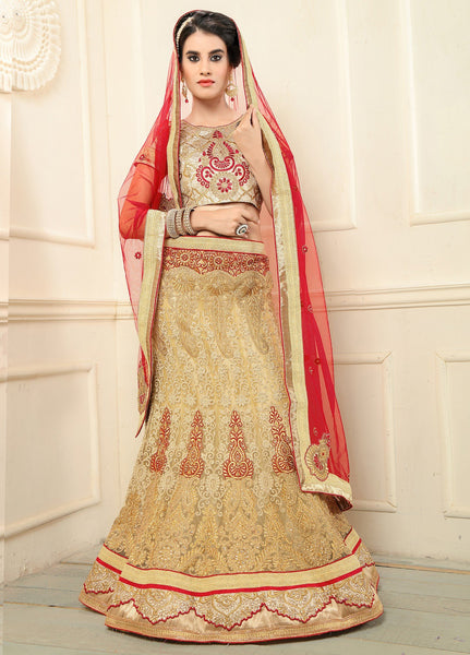 Aasvaa Beautiful Women's Embroidery, Stone Net Lehenga Choli With Un-Stitched Blouse (NMMYA436_Beige_Free Size)