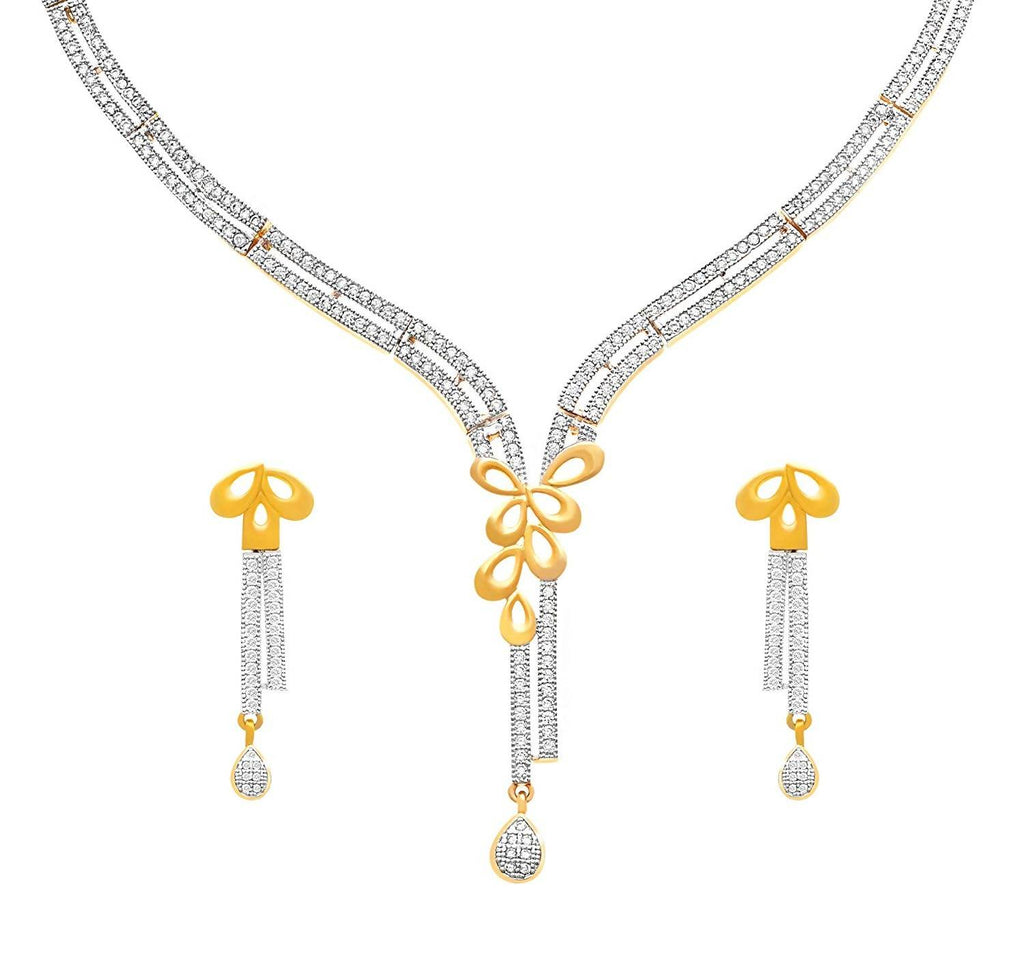 JFL - Jewellery for Less Fashion Fusion 1 g Gold Plated Diamond Necklace Set for Women & Girls