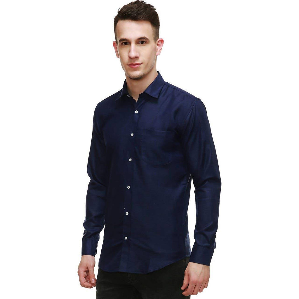 NIMEGH NAVY BLUE COLORED COTTON CASUAL SOLID SHIRT FOR MEN'S