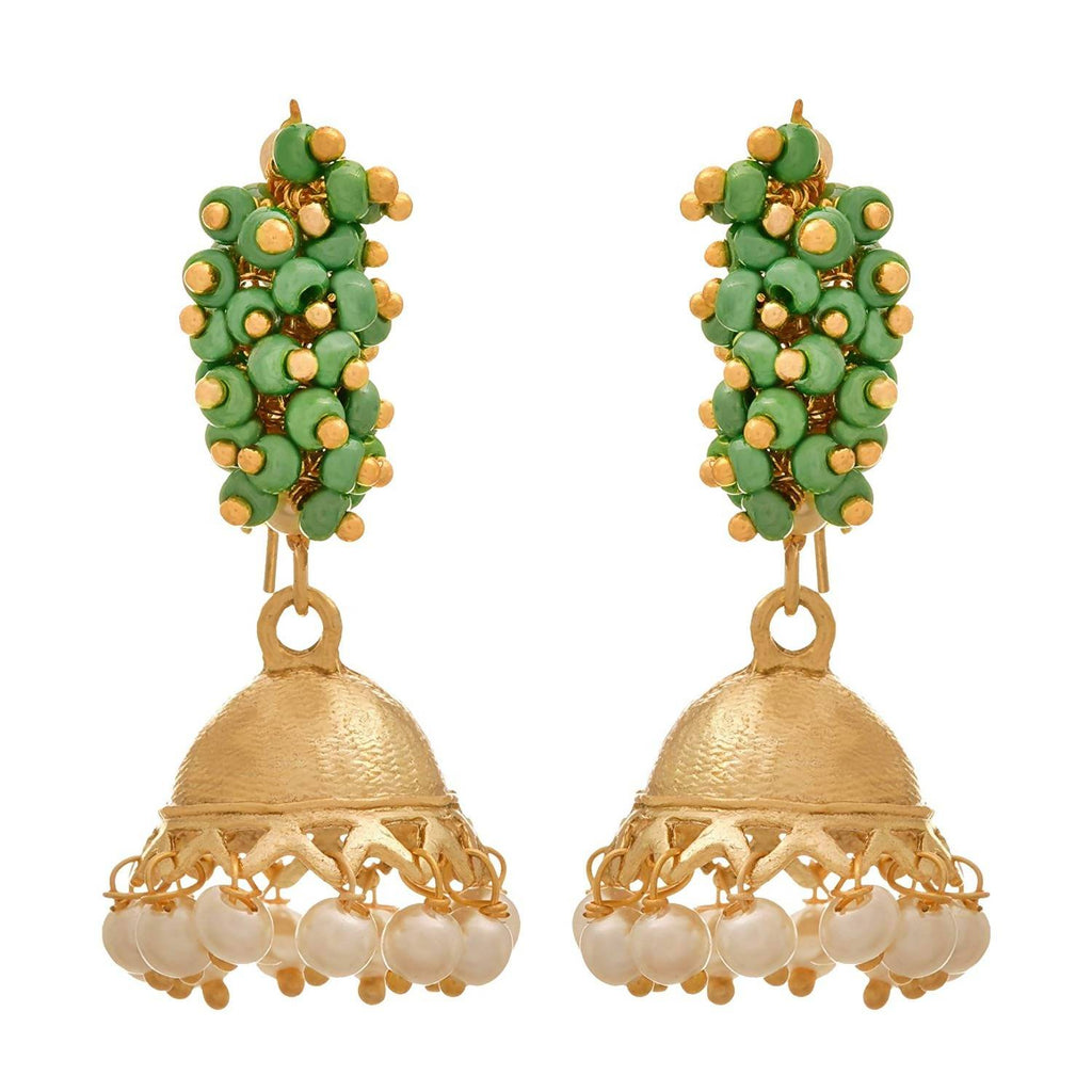 JFL - Traditional and Ethnic One Gram Gold Plated Moti Designer Small Jhumki Bali Earring for Girls and Women.