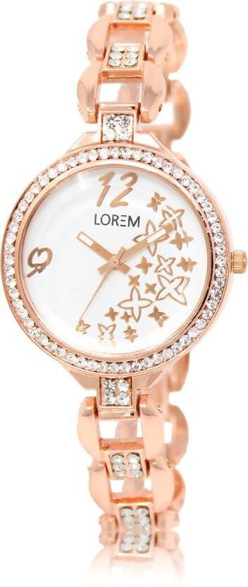 LOREM LR210 White-Rose Gold Round Diamond & Star Studed Metal Watch - For Women