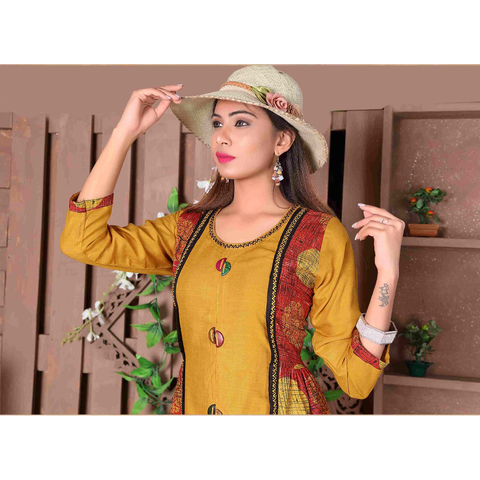 Designer Cut Sleeves Long Rayon Kurtis- Adhira 9