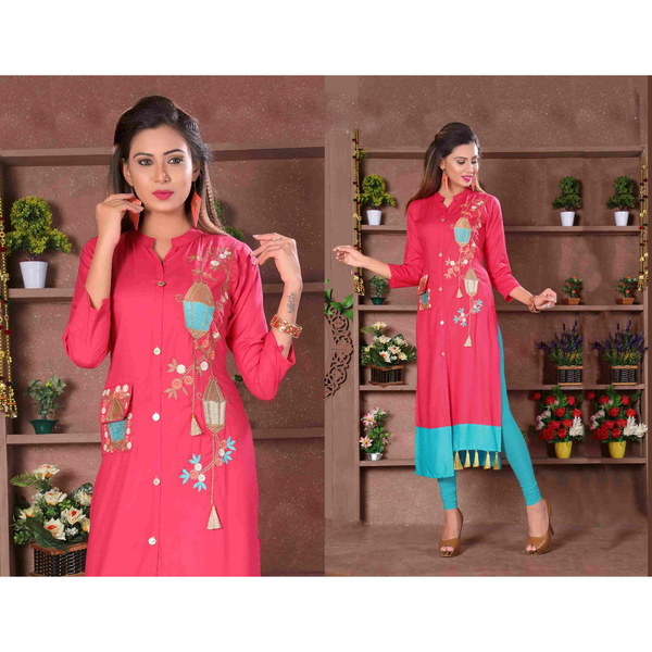 Designer Cut Sleeves Long Rayon Kurtis - Adhira 15
