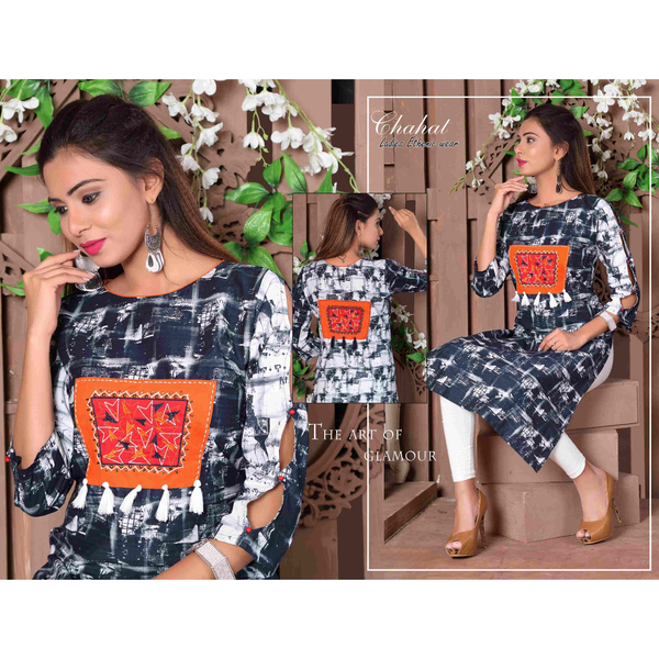 Designer Cut Sleeves Long Rayon Kurtis - Adhira 16