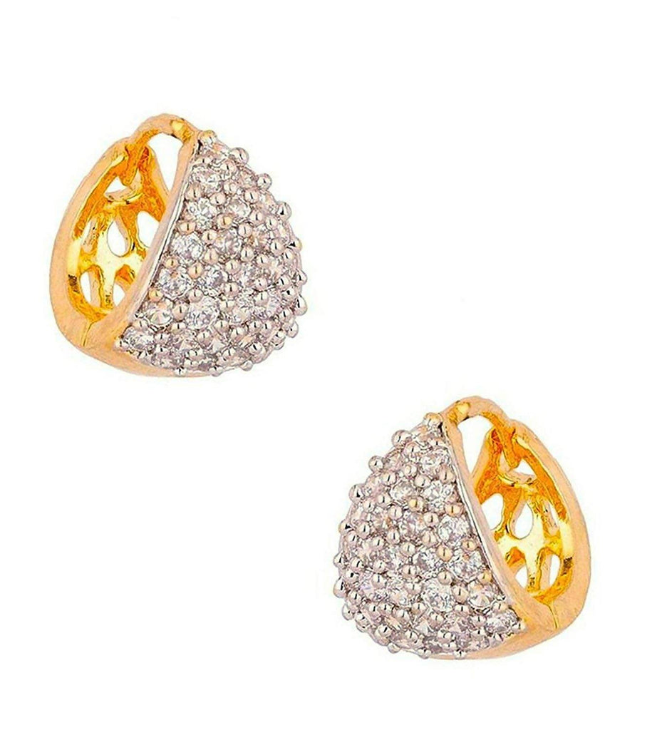 BFC Sparkling CZ Designer Gold Plated Bali Hoop Earrings for Women (White)