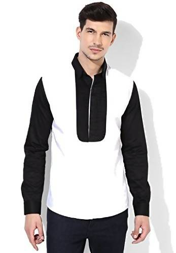 Alvin Kelly Solid White Black Printed Color Casual Men's Shirt