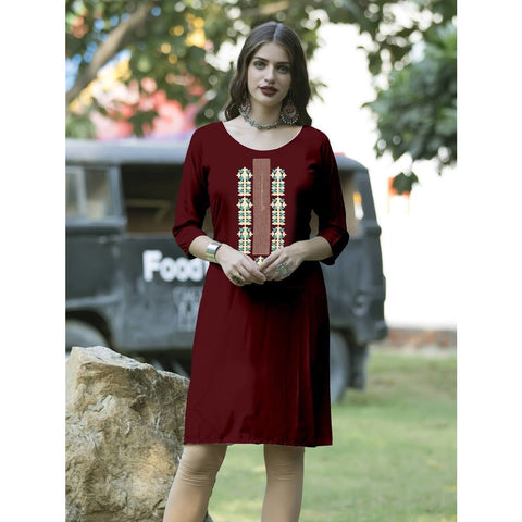 Classy Look Embroidery Fashionable Quarter Length Kurti