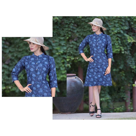 Stunning Printed Denim Kurti, Looks Care Free and Bold