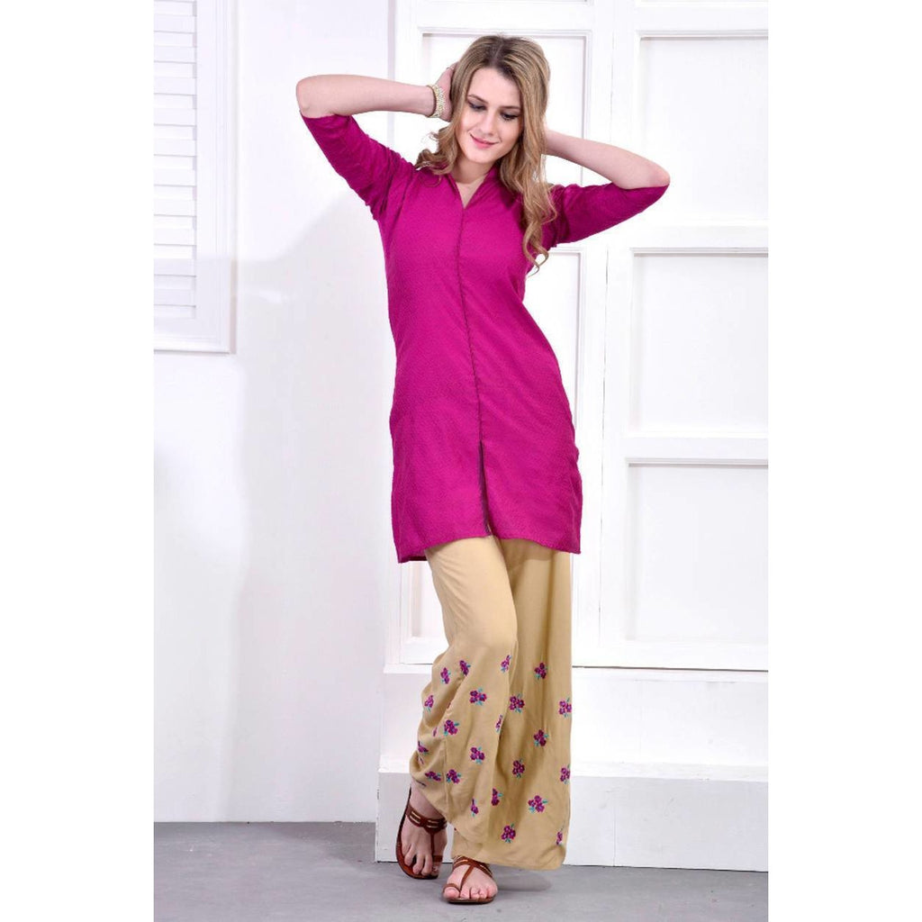 Rose Pink Kurti with Embroidered Palazzo Set