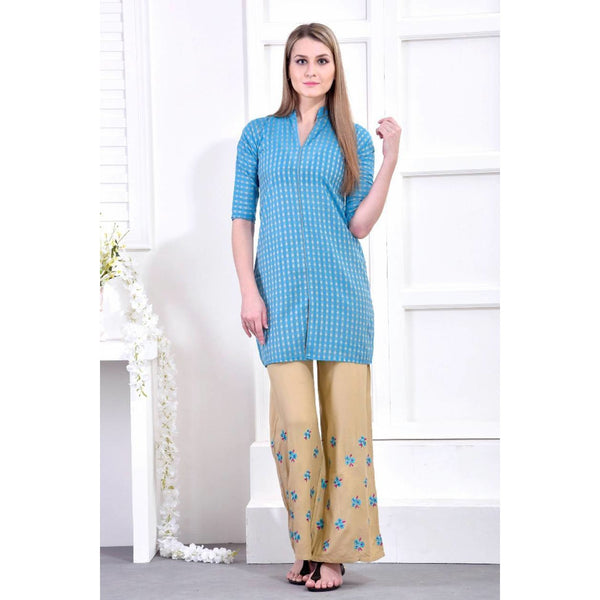 Paradise Knee-length Sky Kurti with Palazzo Set