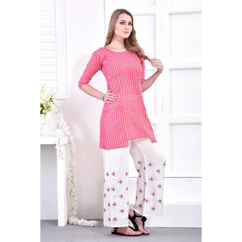 Paradise Rose Pink Knee-length Kurtis with Palazzo Set