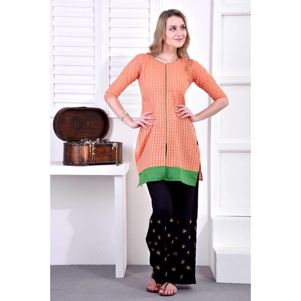Paradise Knee-length Kurtis with Embroidered Palazzo Set