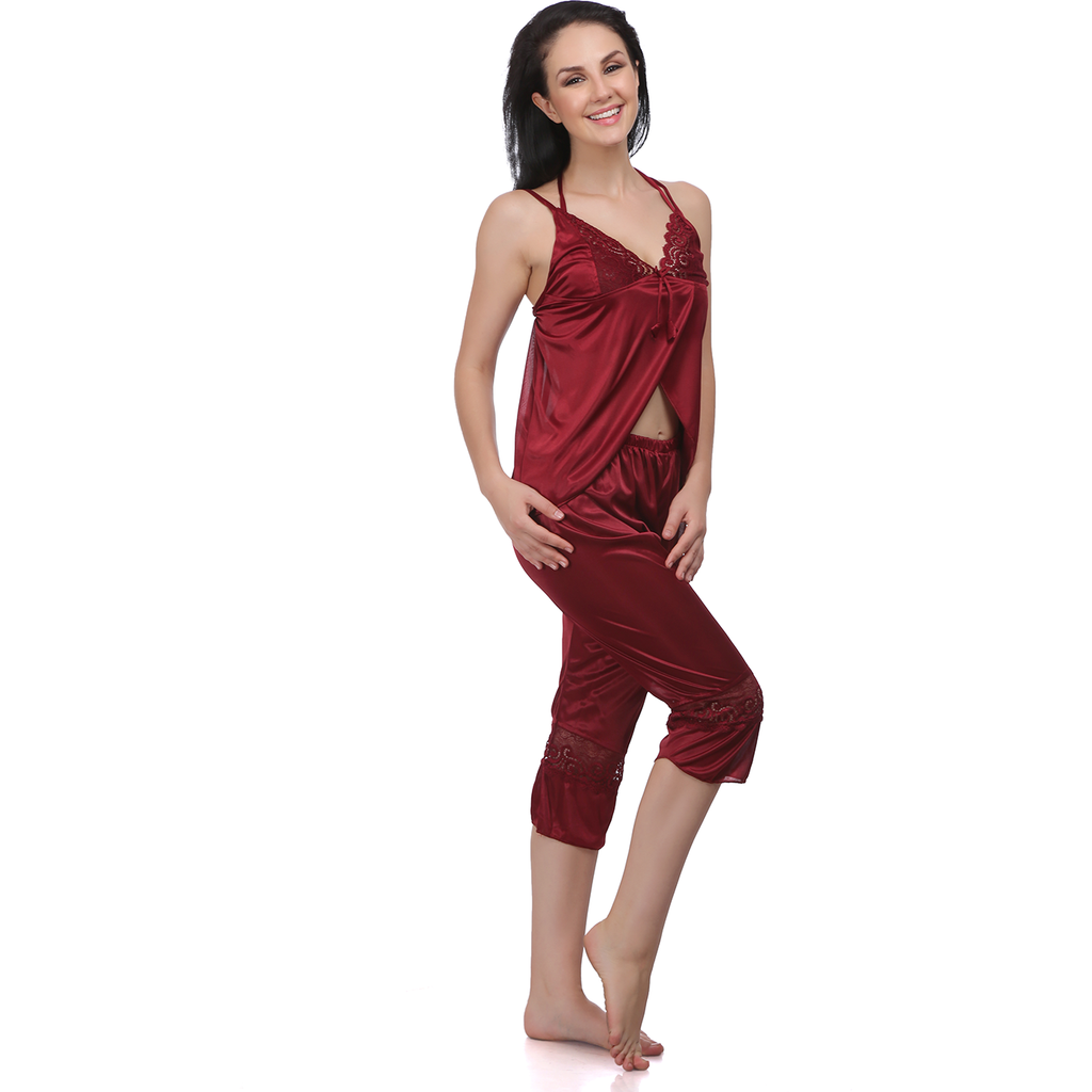 Blood Red and Beautiful 6 Pcs Satin Night gowns