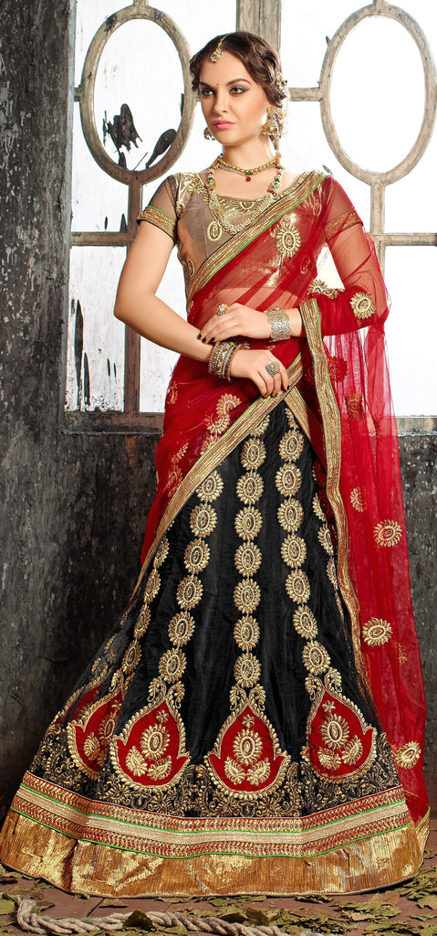 Aasvaa Outstanding Women's Embroidered Net Lehenga Choli With Un-Stitched Blouse (Dhupian Silk_Black_Free Size)