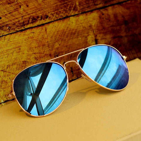 Blue Mercury Aviator Sunglasses For Women
