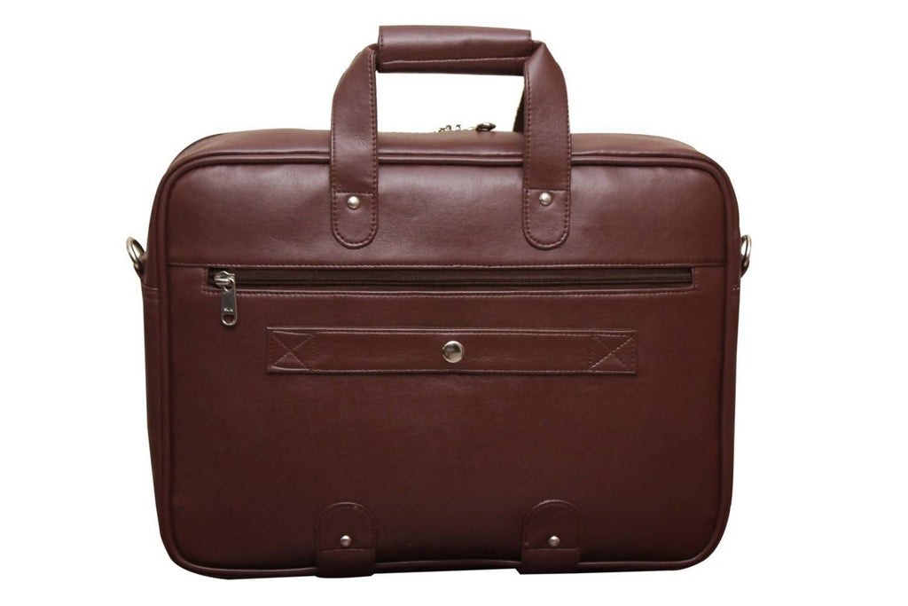"ATTACHE Synthetic Leather 15.6"" Brown Laptop Briefcase"