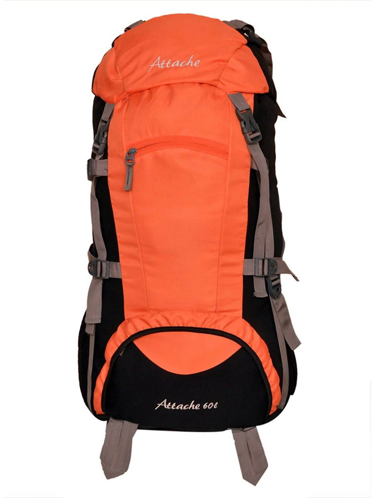 Attache 1023O Rucksack, Hiking Backpack 60Lts (Orange & Black) With Rain Cover