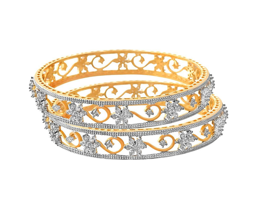 JFL - Traditional Ethnic Fusion Cz American Diamond Floral Flower Designer One Gram Gold Plated Bangles for Women & Girls.