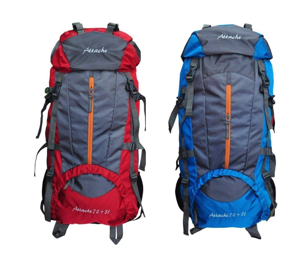 Attache 1021R Climate Proof Rucksack, Hiking Backpack 75Lts (Red & Blue) Set of 2 With Rain Cover