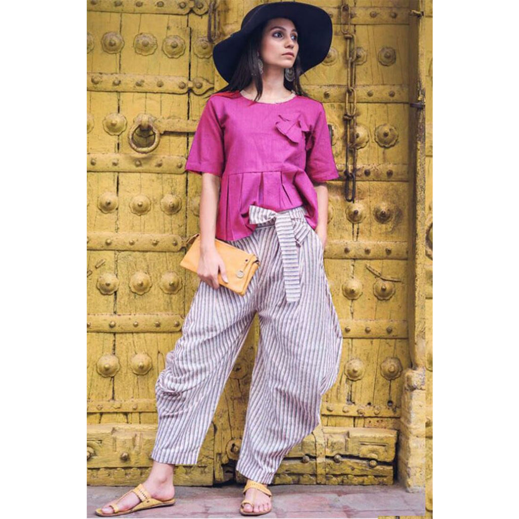 Beauteous Pure Lenin Work Stitched Kurti And Pants