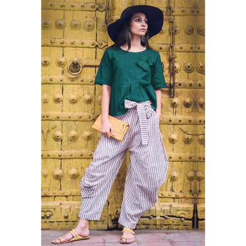 Popular Pure Lenin Work Stitched Kurti And Pants