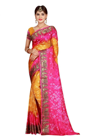 HARSHITA CREATION ART SILK ORANGE & PINK HAND WOWEN BANDHANI SAREE